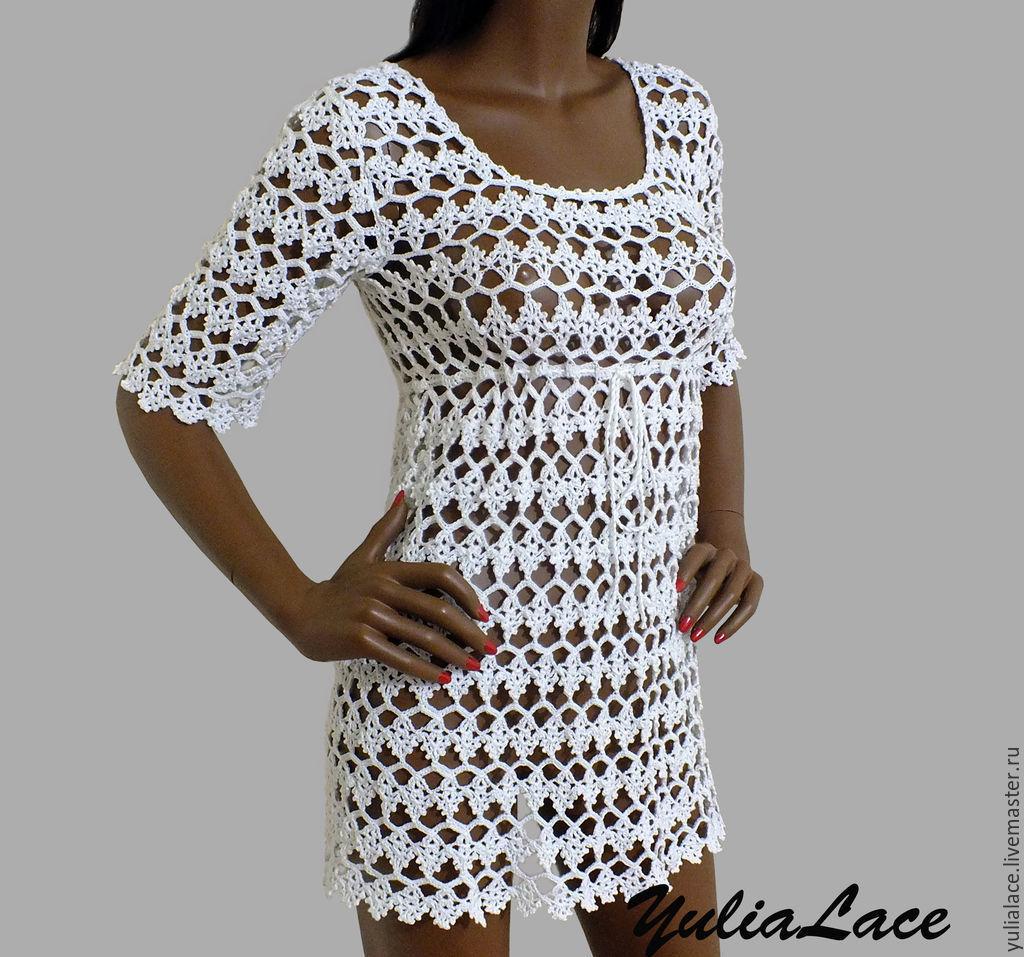 Купить ажурное платье вязаное