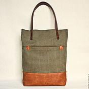 Сумки и аксессуары handmade. Livemaster - original item Khaki bag made of canvas and reddish-brown eco-leather. Handmade.