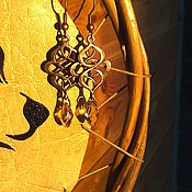 """Украшения ручной работы. Ярмарка Мастеров - ручная работа Серьги """"Византия"""". Винтажные серьги. Бронзовые сережки с кристаллами.. Handmade."""