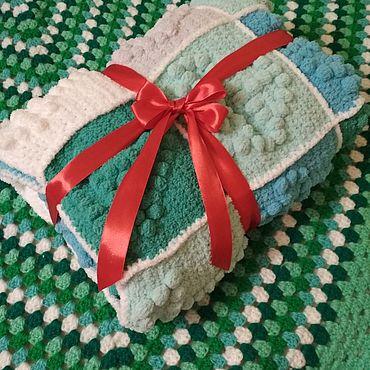 Текстиль ручной работы. Ярмарка Мастеров - ручная работа Детский вязаный,плюшевый пледик. Handmade.
