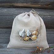 Для дома и интерьера handmade. Livemaster - original item Linen bag with painting... Onion-garlic )). Handmade.