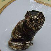 Предметы интерьера винтажные ручной работы. Ярмарка Мастеров - ручная работа фигурка кота из серебра,винтаж. Handmade.