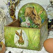 """Подарки к праздникам ручной работы. Ярмарка Мастеров - ручная работа Пасхальная подставка для яиц """"Пасхальные кролики"""". Handmade."""
