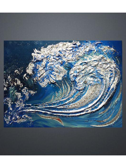 Абстракция ручной работы. Ярмарка Мастеров - ручная работа. Купить Океан -Стихия. Handmade. Картина, панно, блеск, зеркала, вода