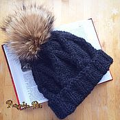 Аксессуары handmade. Livemaster - original item Dark grey hat made of Merino and Alpaca