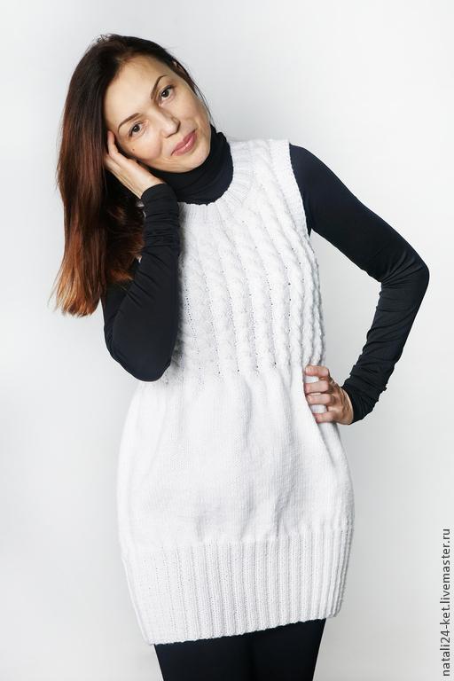 Кофты и свитера ручной работы. Ярмарка Мастеров - ручная работа. Купить Мини платье с косами. Handmade. Белый, для женщин, зима