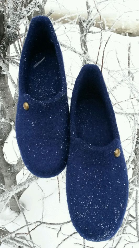 """Обувь ручной работы. Ярмарка Мастеров - ручная работа. Купить Мужские тапочки """"Любимому супругу"""". Handmade. Тёмно-синий, бергшаф"""