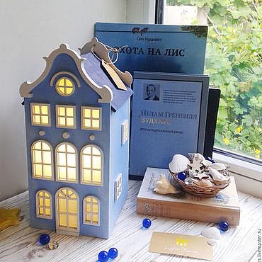 Для дома и интерьера ручной работы. Ярмарка Мастеров - ручная работа Sky. Сине-голубой светильник-домик. Ночник. Handmade.