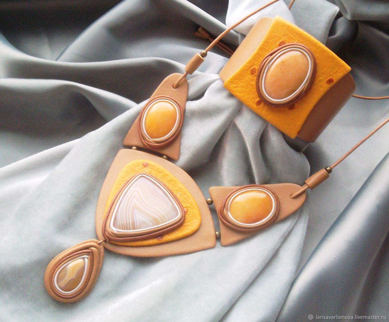 Jewelry set: ' Autumn gold ' with quartz and agate, Jewelry Sets, Velikiy Novgorod,  Фото №1