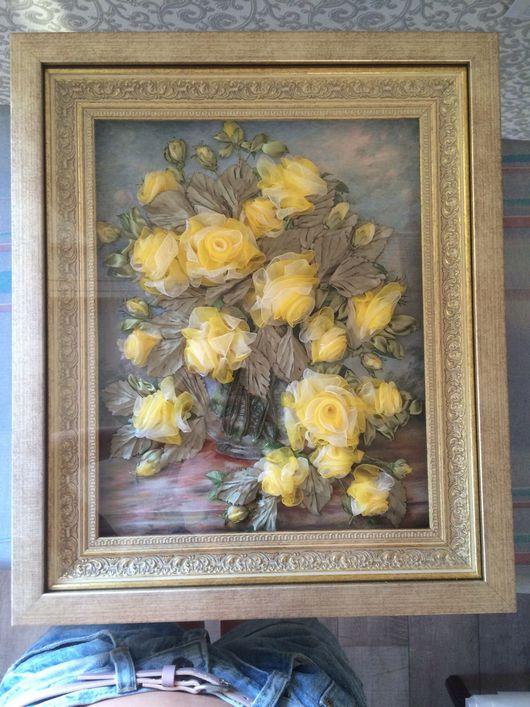"""Картины цветов ручной работы. Ярмарка Мастеров - ручная работа. Купить Картина лентами """"Желтые розы"""". Handmade. Розы, дерево"""