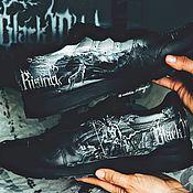Обувь ручной работы handmade. Livemaster - original item Sneakers with a Black metal print. Custom Asics Sneakers. Handmade.