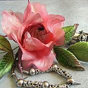 Украшения handmade. Livemaster - original item Grosgrain rose brooch silk