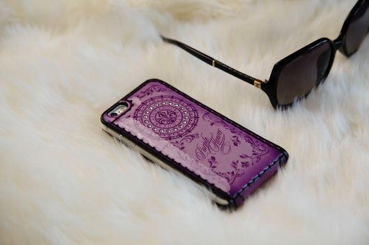 Для телефонов ручной работы. Ярмарка Мастеров - ручная работа. Купить Чехол-флип для  iPhone 7/7plus-6/6 plus/5/5s/se Purple Flower. Handmade.