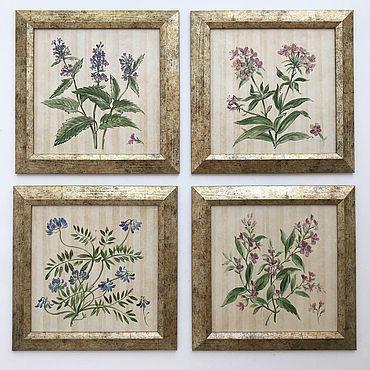 Diseño y publicidad manualidades. Livemaster - hecho a mano Painted tiles. Herbarium collection 4 PCs. Handmade.