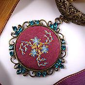 Украшения handmade. Livemaster - original item Embroidered pendant Fiordaliso (2). Handmade.