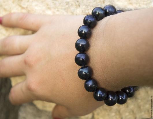 Колье, бусы ручной работы. Ярмарка Мастеров - ручная работа. Купить Огромный натуральный черный жемчуг браслет в серебре. Handmade.