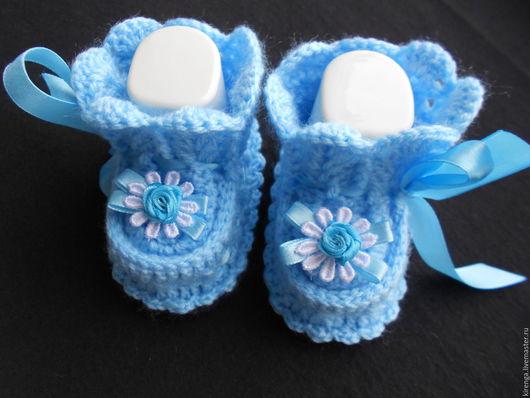 """Для новорожденных, ручной работы. Ярмарка Мастеров - ручная работа. Купить Пинетки """"Облачко"""". Handmade. Голубой, пинетки для малыша"""