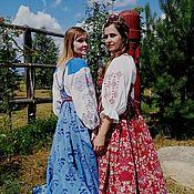 Русский стиль handmade. Livemaster - original item Blue kosoklinny sundress. Handmade.