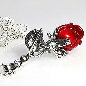 Подарки к праздникам ручной работы. Ярмарка Мастеров - ручная работа Серебряный кулон Алая роза - серебро 925 пробы подарок любимой. Handmade.