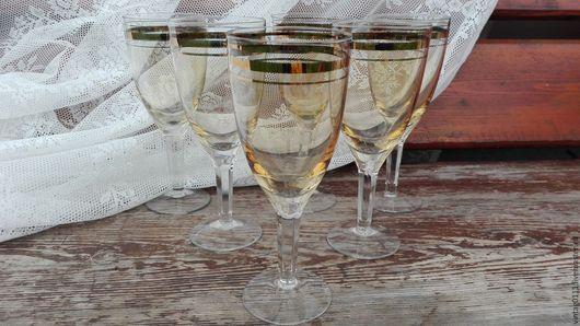 ...стильный и  элегантный набор ретро-бокалов для шампанского и вина, 50-60-е годов прошлого века....