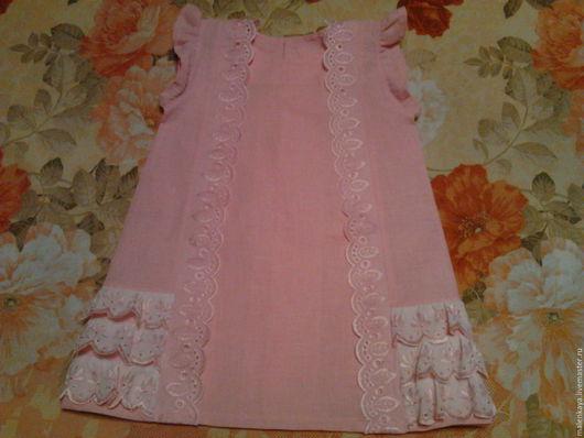 """Одежда для девочек, ручной работы. Ярмарка Мастеров - ручная работа. Купить короткое платье из льна - хлопка """"Милена"""". Handmade. Розовый"""