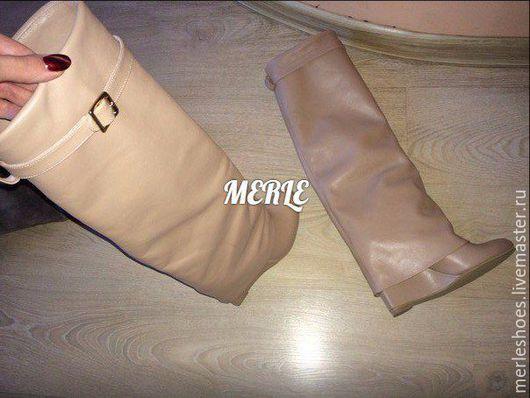 Обувь ручной работы. Ярмарка Мастеров - ручная работа. Купить Сапожки с хомутами на танкетке беж кожа. Handmade. Коричневый