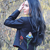 Одежда handmade. Livemaster - original item Black embroidered jacket