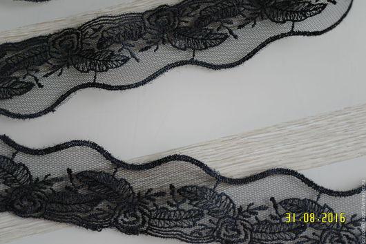 Шитье ручной работы. Ярмарка Мастеров - ручная работа. Купить Кружево черное шитье на сетке  40,45 мм. Handmade.