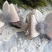 Резинка для волос ручной работы. Ярмарка Мастеров - ручная работа Резинка для волос:  Бантики зимние. Handmade.