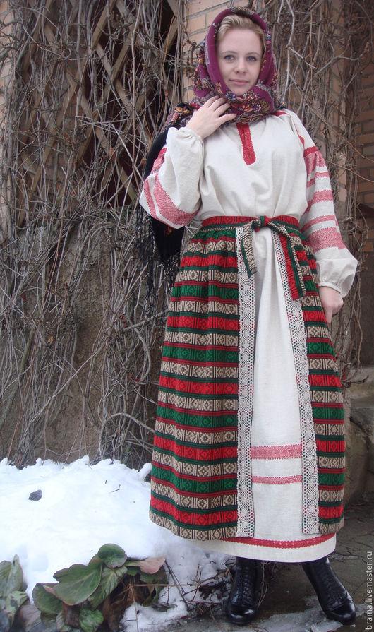 """Одежда ручной работы. Ярмарка Мастеров - ручная работа. Купить Льняное платье с юбкой """"ЗИМНИЕ УЗОРЫ"""" в русском стиле. Handmade."""