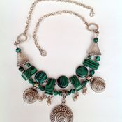 Украшения handmade. Livemaster - original item Necklaces, ethnic beads made of malachite in the Oriental style Peacock stone.. Handmade.