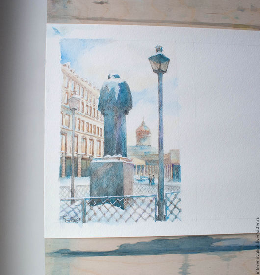 """Город ручной работы. Ярмарка Мастеров - ручная работа. Купить рисунок акварельными карандашами """"мечтательно-грустный Гоголь"""". Handmade. Комбинированный"""