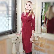 """Бордовое платье футляр """"Лиза"""""""