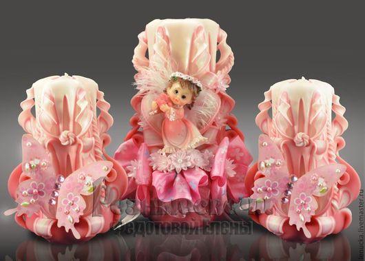 Резные свечи ручной работы серия Мой ангел. Цена комплекта из трех свечей