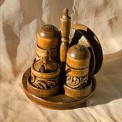 Для дома и интерьера ручной работы. Ярмарка Мастеров - ручная работа Набор для специй. Резьба по дереву. Handmade.