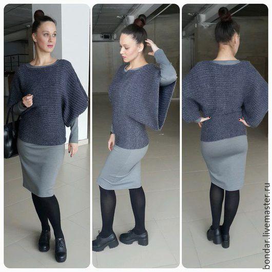 Кофты и свитера ручной работы. Ярмарка Мастеров - ручная работа. Купить Пуловер Т-образный вязаный спицами. Handmade.