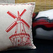 Для дома и интерьера ручной работы. Ярмарка Мастеров - ручная работа Интерьерная подушка с вышивкой Мельница. Handmade.
