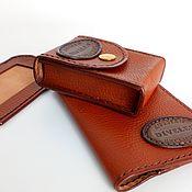 handmade. Livemaster - original item Leather set: 3 items. The dark red thread.. Handmade.