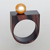 Украшения handmade. Livemaster - original item wooden ring with pearls.. Handmade.