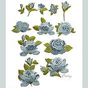 Материалы для творчества handmade. Livemaster - original item Embroidery applique patch Rose grey blue for Clothing decor. Handmade.