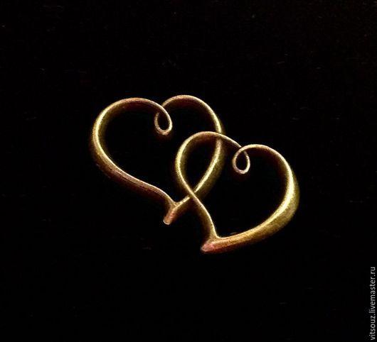 Арт. B13098  Подвеска `Влюбленные сердца`  Цвет: Античная бронза
