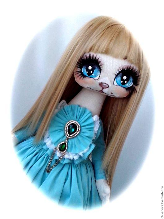 Коллекционные куклы ручной работы. Ярмарка Мастеров - ручная работа. Купить Кошечка Тиффани. Handmade. Бирюзовый, кукла ручной работы