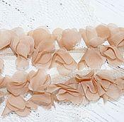 Материалы для творчества ручной работы. Ярмарка Мастеров - ручная работа Шифоновые цветочки на сетчатой ленте. 3D кружево. Handmade.
