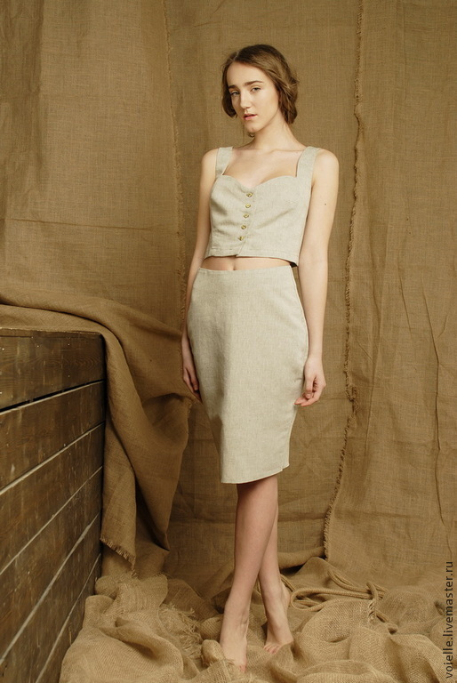 Одежда из льна юбка