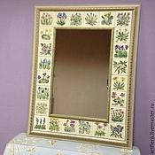 Для дома и интерьера handmade. Livemaster - original item Mirror Provencal pot Painting pottery Painting ceramic tile. Handmade.