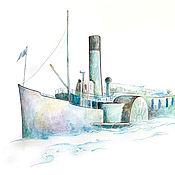 Картины и панно handmade. Livemaster - original item Paddle steamer Watercolor drawing 21h30 cm. Handmade.