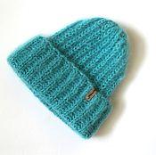 Аксессуары handmade. Livemaster - original item Knitted turquoise mohair cap with lurex. Handmade.