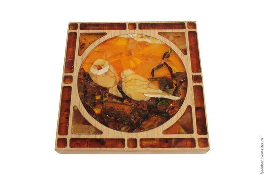 """Животные ручной работы. Ярмарка Мастеров - ручная работа. Купить Мозаика из натурального янтаря """"Птицы"""". Handmade. Комбинированный, мозаика из янтаря"""