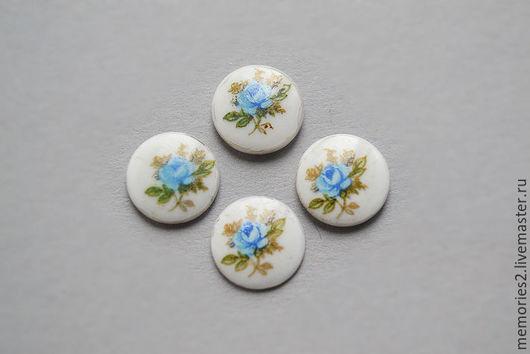 Для украшений ручной работы. Ярмарка Мастеров - ручная работа. Купить Винтажные кабошоны 10 мм цвет Blue Rose. Handmade.