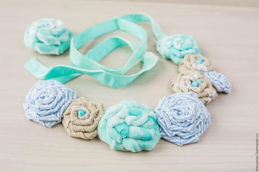 Колье, бусы ручной работы. Ярмарка Мастеров - ручная работа. Купить Колье из ткани текстиля бархата «Голубой покой» розы цветы. Handmade.